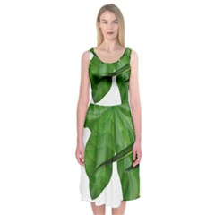 Plant Berry Leaves Green Flower Midi Sleeveless Dress by BangZart