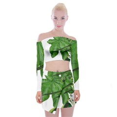 Plant Berry Leaves Green Flower Off Shoulder Top With Mini Skirt Set by BangZart
