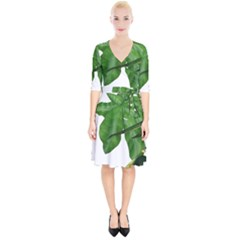 Plant Berry Leaves Green Flower Wrap Up Cocktail Dress