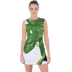 Plant Berry Leaves Green Flower Lace Up Front Bodycon Dress by BangZart