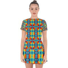 Pop Art Abstract Design Pattern Drop Hem Mini Chiffon Dress by BangZart