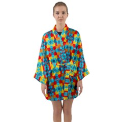 Pop Art Abstract Design Pattern Long Sleeve Kimono Robe