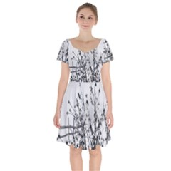 Snow Winter Cold Landscape Fence Short Sleeve Bardot Dress