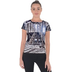 House Old Shed Decay Manufacture Short Sleeve Sports Top  by BangZart