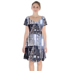 House Old Shed Decay Manufacture Short Sleeve Bardot Dress