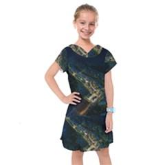 Commercial Street Night View Kids  Drop Waist Dress