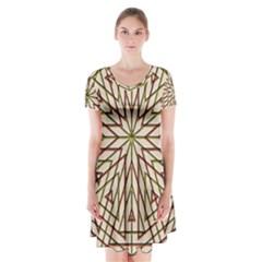 Kaleidoscope Online Triangle Short Sleeve V Neck Flare Dress by BangZart