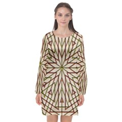 Kaleidoscope Online Triangle Long Sleeve Chiffon Shift Dress