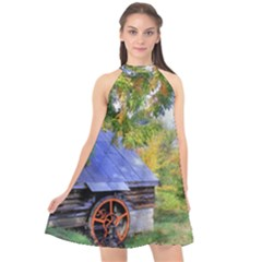 Landscape Blue Shed Scenery Wood Halter Neckline Chiffon Dress  by BangZart
