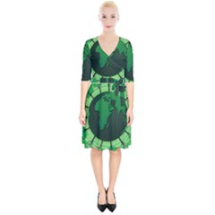 Earth Forest Forestry Lush Green Wrap Up Cocktail Dress