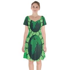 Earth Forest Forestry Lush Green Short Sleeve Bardot Dress by BangZart