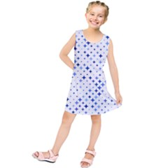 Star Curved Background Blue Kids  Tunic Dress