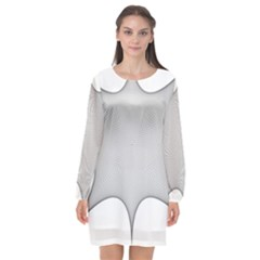 Star Grid Curved Curved Star Woven Long Sleeve Chiffon Shift Dress  by BangZart