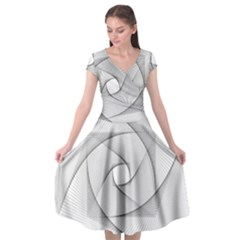 Rotation Rotated Spiral Swirl Cap Sleeve Wrap Front Dress