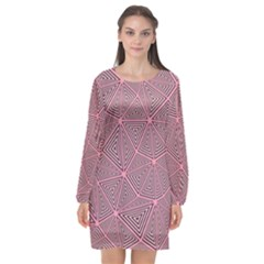 Triangle Background Abstract Long Sleeve Chiffon Shift Dress