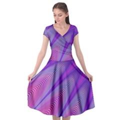 Purple Star Sun Sunshine Fractal Cap Sleeve Wrap Front Dress by BangZart