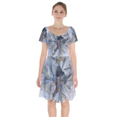 Winter Frost Ice Sheet Leaves Short Sleeve Bardot Dress by BangZart