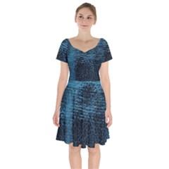 Blue Black Shiny Fabric Pattern Short Sleeve Bardot Dress by BangZart
