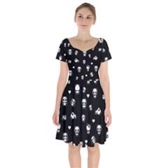 Panda Pattern Short Sleeve Bardot Dress by Valentinaart