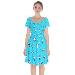 Panda Pattern Short Sleeve Bardot Dress