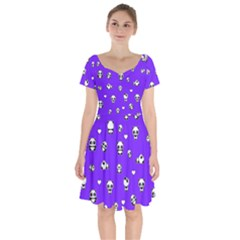 Panda Pattern Short Sleeve Bardot Dress by Valentinaart