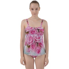 Pink Roses Twist Front Tankini Set by 8fugoso