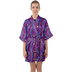 Aztec Purple Pattern Quarter Sleeve Kimono Robe