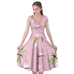 Dragonfly And White Flowers Pattern Cap Sleeve Wrap Front Dress by allthingseveryday