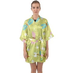 Colorful Dragonflies And White Flowers Pattern Quarter Sleeve Kimono Robe