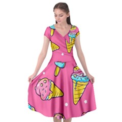 Summer Ice Creams Flavors Pattern Cap Sleeve Wrap Front Dress by allthingseveryday