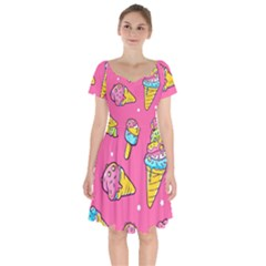 Summer Ice Creams Flavors Pattern Short Sleeve Bardot Dress by allthingseveryday