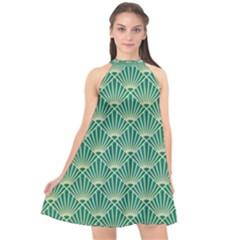 Green Fan  Halter Neckline Chiffon Dress  by 8fugoso