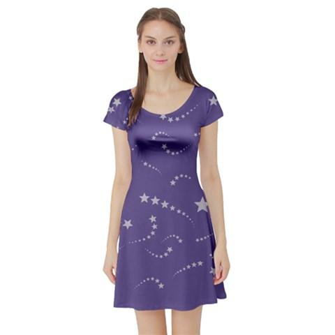 Ultra Violet Stars Short Sleeve Skater Dress