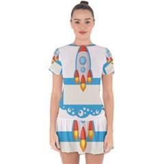 Rocket Spaceship Clip Art Clipart Drop Hem Mini Chiffon Dress by Celenk