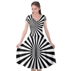 Rays Stripes Ray Laser Background Cap Sleeve Wrap Front Dress by Celenk