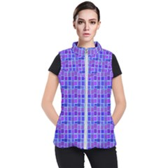 Background Mosaic Purple Blue Women s Puffer Vest by Celenk