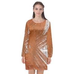 Abstract Lines Background Mess Long Sleeve Chiffon Shift Dress  by Celenk