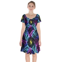 Abstract Art Color Design Lines Short Sleeve Bardot Dress by Celenk