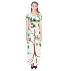 Tree Root Leaves Owls Green Brown Short Sleeve Maxi Dress by Celenk