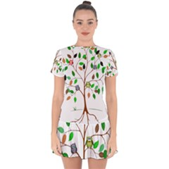 Tree Root Leaves Owls Green Brown Drop Hem Mini Chiffon Dress by Celenk