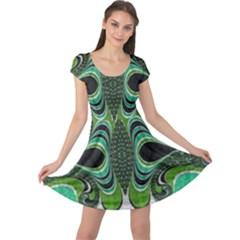 Fractal Art Green Pattern Design Cap Sleeve Dress
