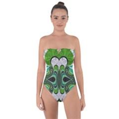Fractal Art Green Pattern Design Tie Back One Piece Swimsuit by Celenk