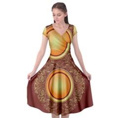 Badge Gilding Sun Red Oriental Cap Sleeve Wrap Front Dress