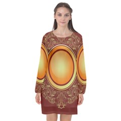 Badge Gilding Sun Red Oriental Long Sleeve Chiffon Shift Dress  by Celenk