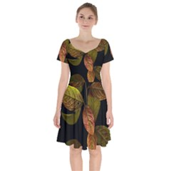 Autumn Leaves Foliage Short Sleeve Bardot Dress by Celenk