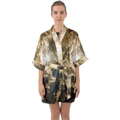 Gold Sea Coast Waves Depier Quarter Sleeve Kimono Robe by Celenk