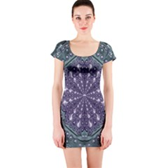 Star And Flower Mandala In Wonderful Colors Short Sleeve Bodycon Dress