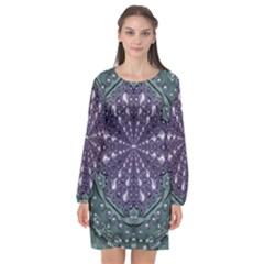 Star And Flower Mandala In Wonderful Colors Long Sleeve Chiffon Shift Dress  by pepitasart