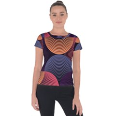 Geometric Swirls Short Sleeve Sports Top  by Celenk