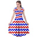 Zig Zag Pattern Cap Sleeve Wrap Front Dress View1